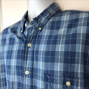 G. H. Bass Designed to Fade Denim Shirt Plaid L